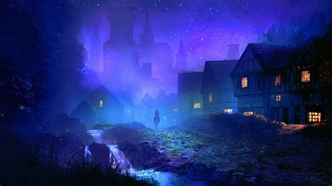 fantasy medieval town night illustration desktop wallpaper