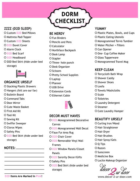 college room checklist free checklist archives decor 2 ur door