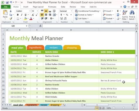 Free Monthly Meal Planner For Excel Powerpoint Presentation Meal Plan Exles Templates