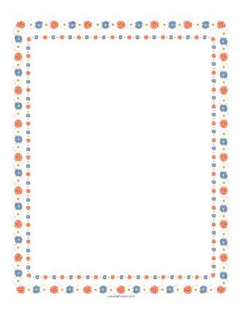 printable paper with flower border printable flower border paper
