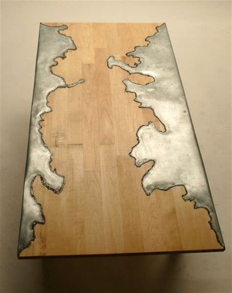 idea for wood metal mix decorations wood and steel table would love to try this pattern