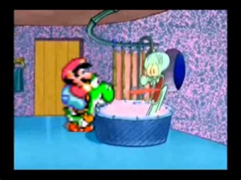 mario and yoshi disrupt squidward s bath