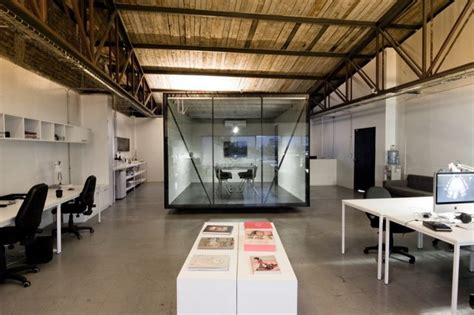 industrial office design glass cube conference room industrial chic studio