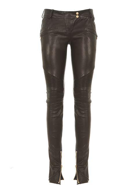 biker pants balmain black leather biker pants in black lyst