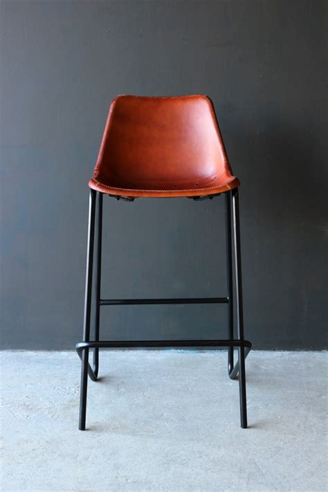 Leather Bar Stools by Industrial Leather Bar Stool Brown