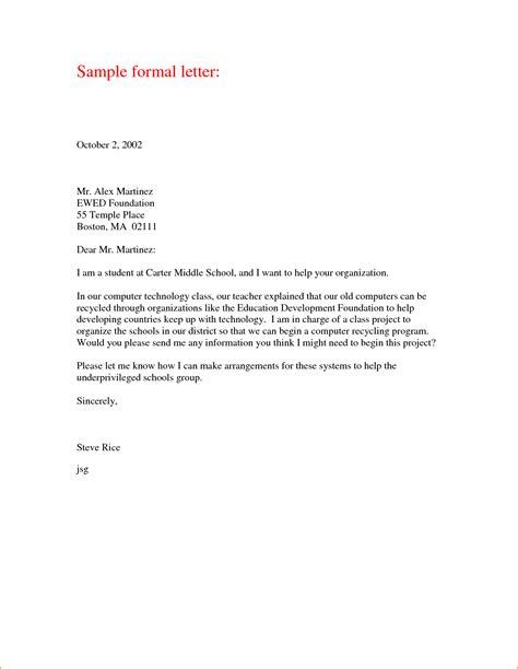 Formal Letter Format a formal letter exle basic appication letter