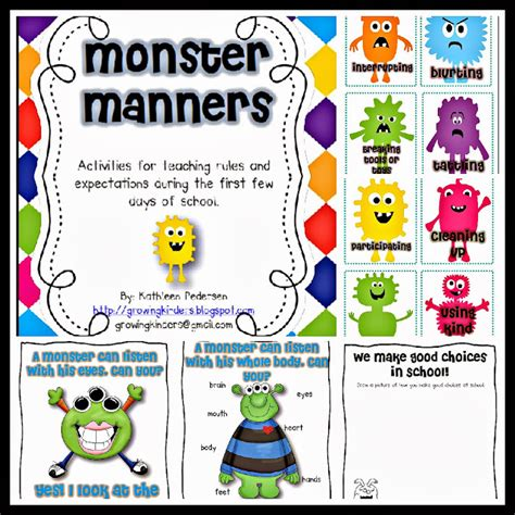 monster manners coloring page kindergarten holding hands and sticking together five