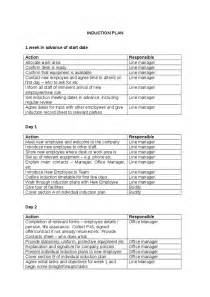 induction programme for new employees template sle induction plan hashdoc