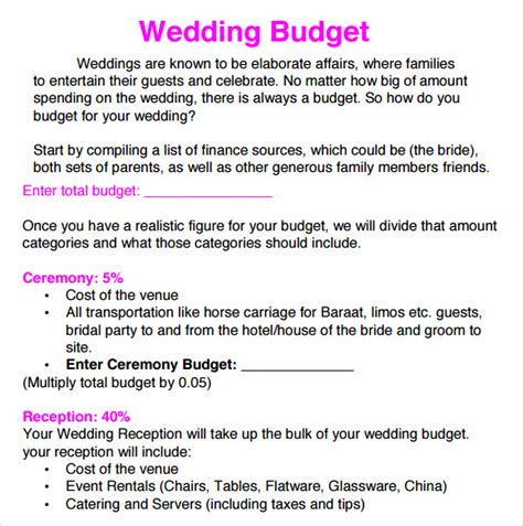 Wedding Budget Document by Sle Wedding Budget 5 Documents In Word Excel Pdf