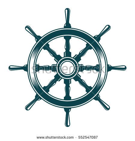 boat steering wheel retro ship steering wheel vintage vector illustration stock