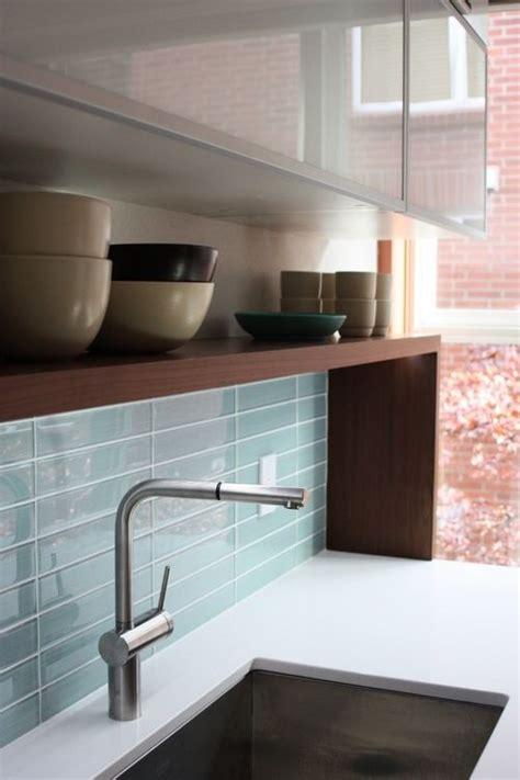 blue glass tile backsplash kitchen glass tile
