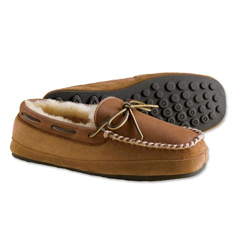shearling moccasin slippers mens shearling slippers otter creek moccasin slippers