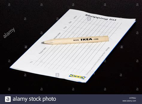 List Ikea an ikea shopping list and pencil on a wooden table stock photo royalty free image 17165057 alamy