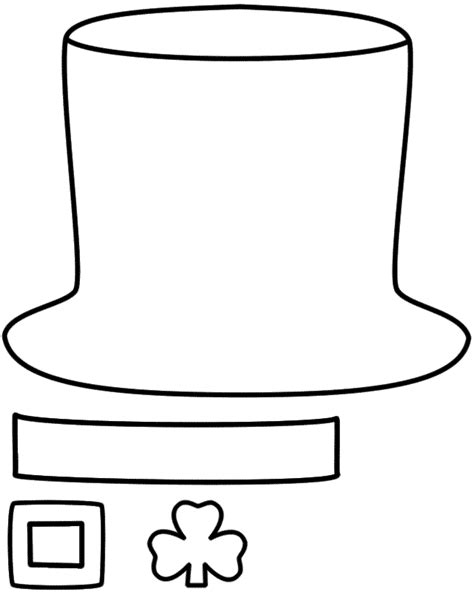 leprechaun hat paper craft black and white template