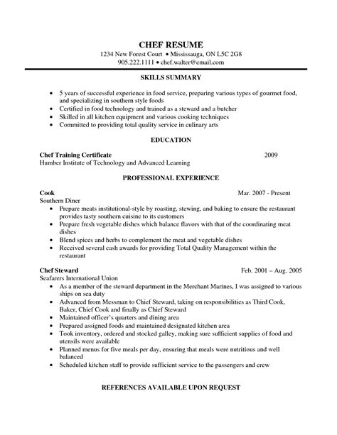 lead cook resume sle ideas of lead cook resume sle about sle