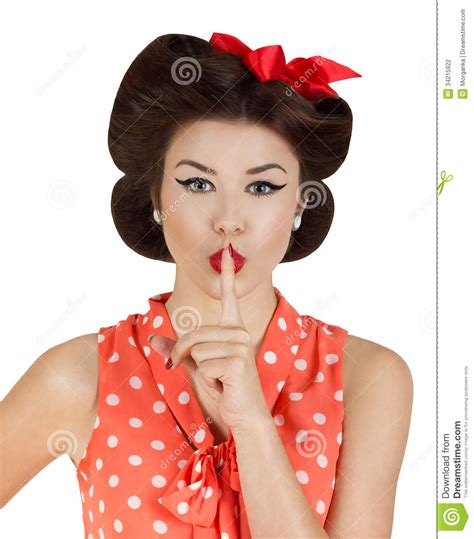 pin up pin up style with finger on lips stock photo image