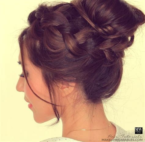formal hairstyles messy bun with braid second day hairstyles how to chubby braid wrapped messy