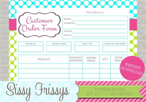 printable order forms for crafts instant download printable business customer invoice