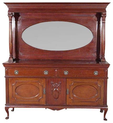 antique 6ft solid walnut queen anne buffet sideboard