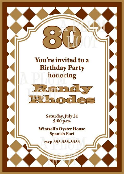 free 80th birthday invitation templates free printable 80th birthday invitations