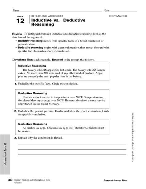 Deductive Reasoning Worksheets by Worksheet Inductive Reasoning Worksheet Caytailoc Free