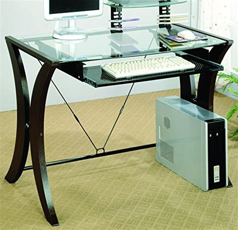 coaster company cappuccino writing desk coaster 800445 division desk with glass top cappuccino