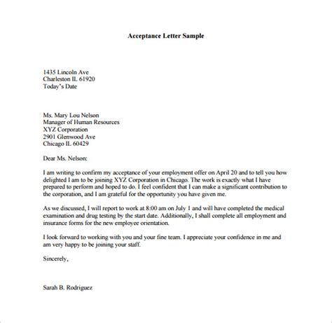 Acceptance Letter Heading Sle Acceptance Letter For Teaching Cover Letter Templates