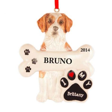 brittany dog personalized christmas ornament christmas