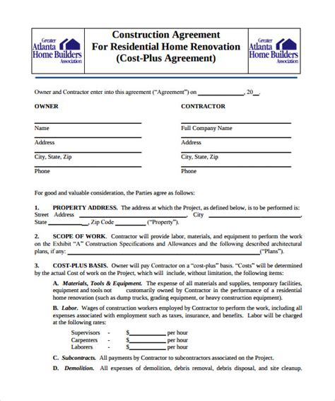 renovation contract template 9 download documents in pdf