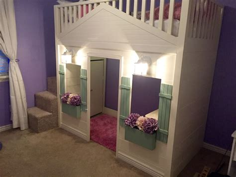 cottage loft bed playhouse  stairs lights  desk