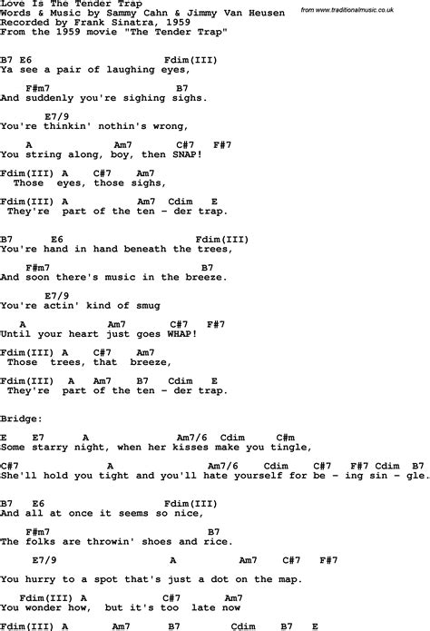 lyrics frank sinatra song lyrics with guitar chords for is the tender trap