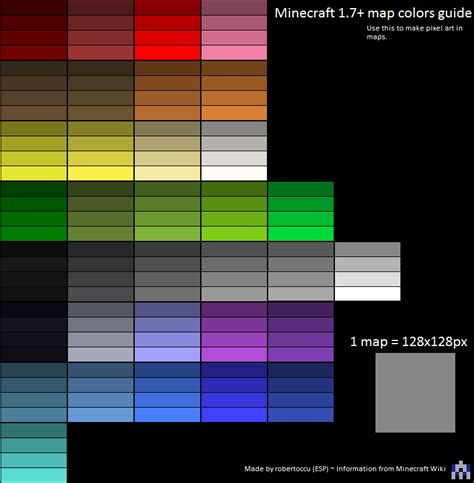 Colors In Minecraft Maps Summarized In A Image Minecraft Minecraft Colors