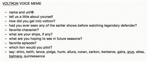 Voice Meme Questions - shiro character study with dani let s voltron the