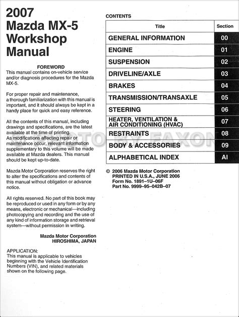car maintenance manuals 2007 mazda miata mx 5 engine control service manual motor auto repair manual 2007 mazda mx 5 lane departure warning service