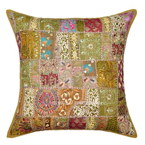 Patchwork Products - 24x24 quot green boho style patchwork embroidered decorative