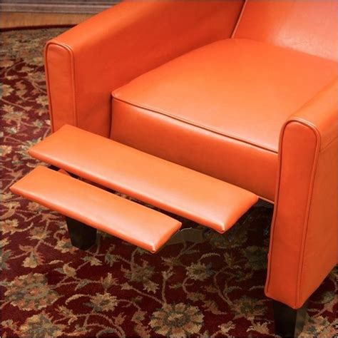 orange recliner chair bowery hill leather recliner chair in orange bh 490981