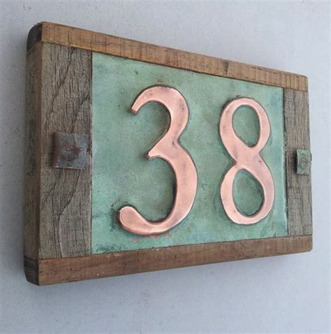 Handmade House Numbers - real copper house number with weathered oak frame custom