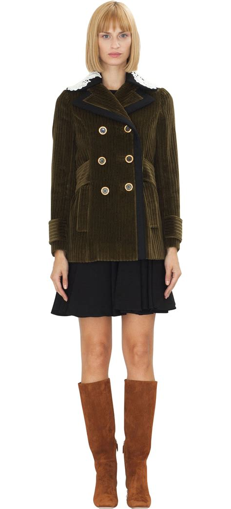 Valentino Gold Button Detail Jacket Review by Miu Miu Breasted Coat W Gold Button Velvet In