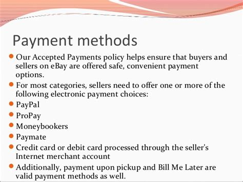 ebay payment methods ebay