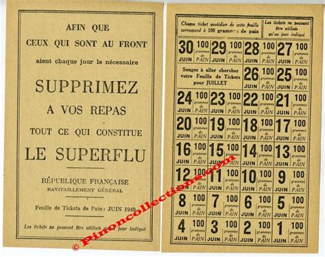 Tickets De Rationnement by Feuille De Tickets De Rationnement De Juin 1940