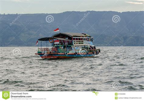 ferry lake toba lake toba ferry in sumatra indonesia stock photo image