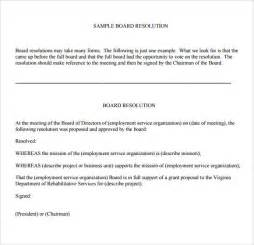Board Resolution Templates by Sle Board Resolution 5 Documents In Pdf Word