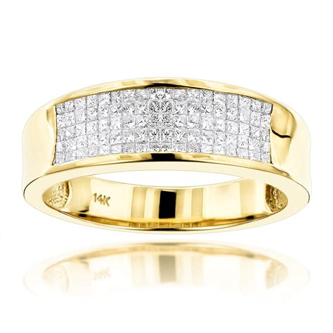14k gold princess cut mens wedding ring 1 50ct