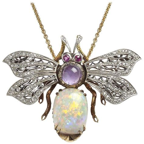 opal amethyst ruby gold bee pendant for sale at