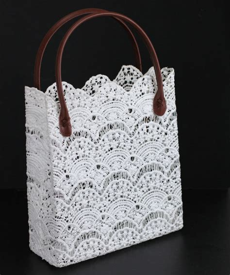 Lace Bag stiffened lace tote bag brown handles