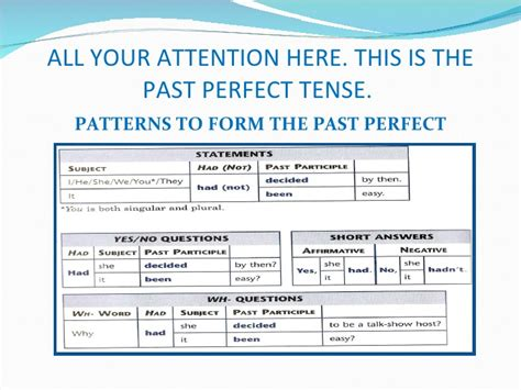 past perfect tense with pattern narrative tenses