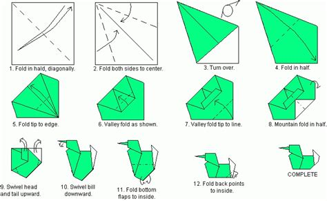 How To Make A Duck Out Of Paper - directions to fold origami duck images frompo