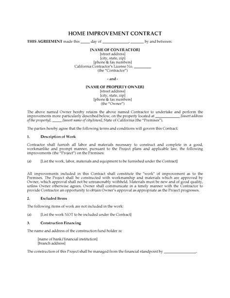 california home improvement contract forms and