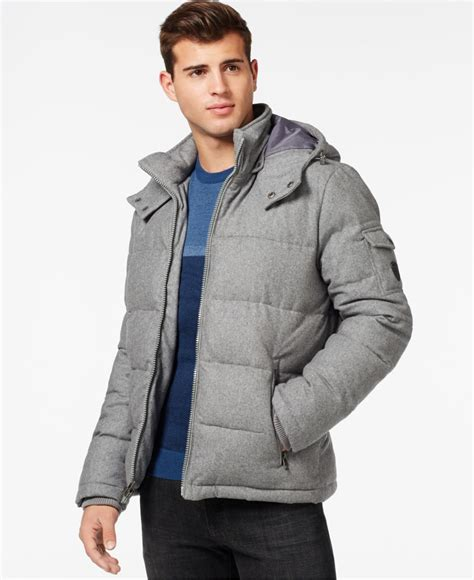 light grey denim jacket guess quilted down filled jacket with removable hood in