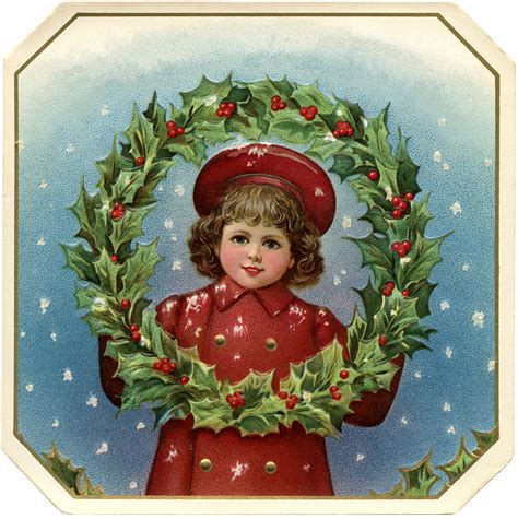 victorian christmas clip art girl with wreath the